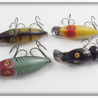 Heddon River Runt Lot Of Four: Yellow Shore, Pike Scale, Black Shore, & Green Shore