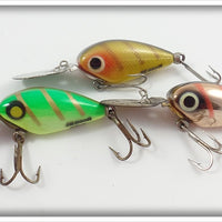 Heddon Devil Diver Lot Of Three: Perch, Bright Green, & Chrome/Pink