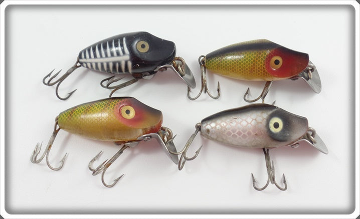 Heddon Midgit Digit Lot Of Four: Perch, Black Shore, & Shiner
