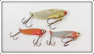Heddon Sonar Lot Of Three: Gold, Orange, & Silver