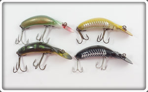 Heddon Tadpolly Spook Lot Of Four: Bullfrog, Green Shad, Yellow Shore, & Black Shore