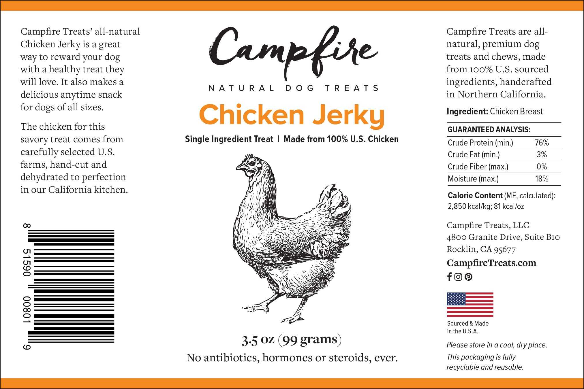 Label of Premium Chicken Jerky for Dogs