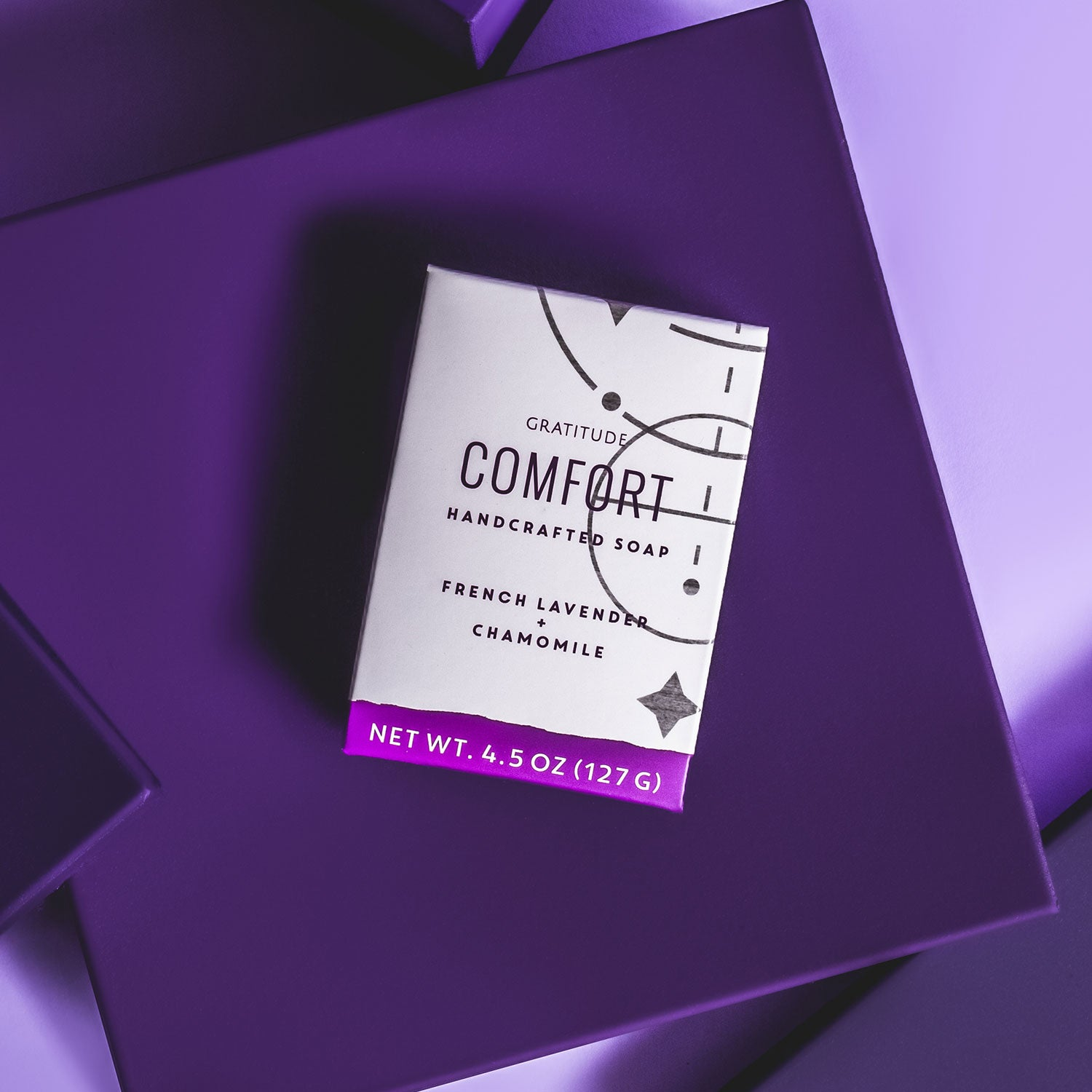 A box of Comfort soap on a purple background
