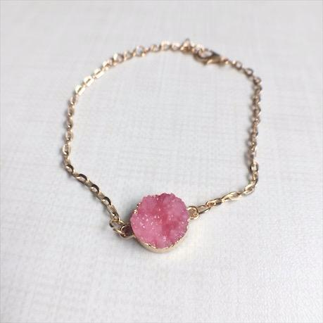 Resin druzy stone at its finest - our pink Just Blushed bracelet is a one of a kind show stopper.