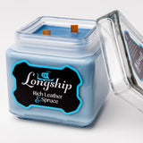Longship Candle - Rich Leather & Spruce - Double Wick 32 Oz