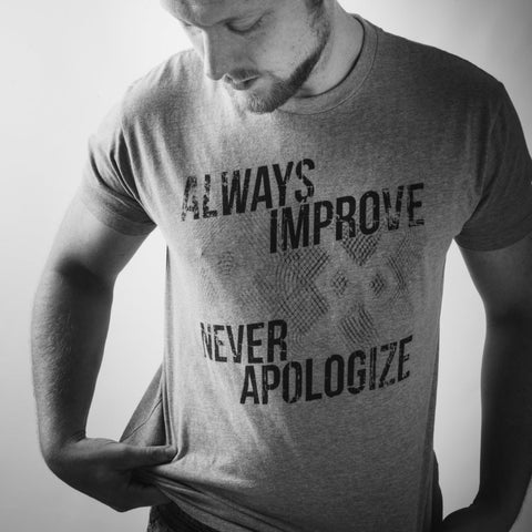 Short Sleeve Tee Shirt - Always Improve, Never Apologize - Tri-Blend