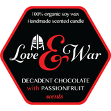 Love & War Candle - Dark Chocolate & Passionfruit - Wooden Wick 8 Oz
