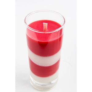 Striped Peppermint Soy Christmas Candle - 10 Oz Glass