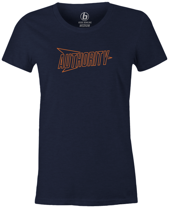 Columbia 300 Authority Women's T-Shirt, Navy, bowling, bowling ball, logo, brand, t, t shirt, tee, tee-shirt, tees, league bowling team shirt, tournament shirt, pba, pwba, usbc, junior gold, cool.