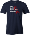 Eat Sleep Bowling Repeat Men's Bowling shirt, navy, tee, tee-shirt, tee shirt, apparel, merch, cool, funny, vintage, father's day, gift, present, cheap, discount, free shipping, lifestlye.