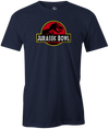 Jurassic Bowl Navy T-Shirt, Red, bowling, funny, cool, vintage, novelty, movie, Jurassic Park, league bowling team shirt, tournament shirt, dinosaurs.