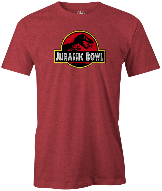 Jurassic Bowl Men's T-Shirt, Red, bowling, funny, cool, vintage, novelty, movie, Jurassic Park, league bowling team shirt, tournament shirt, dinosaurs.