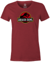 Jurassic Bowl Women's T-Shirt, Red, bowling, funny, cool, vintage, novelty, movie, Jurassic Park, league bowling team shirt, tournament shirt, dinosaurs.
