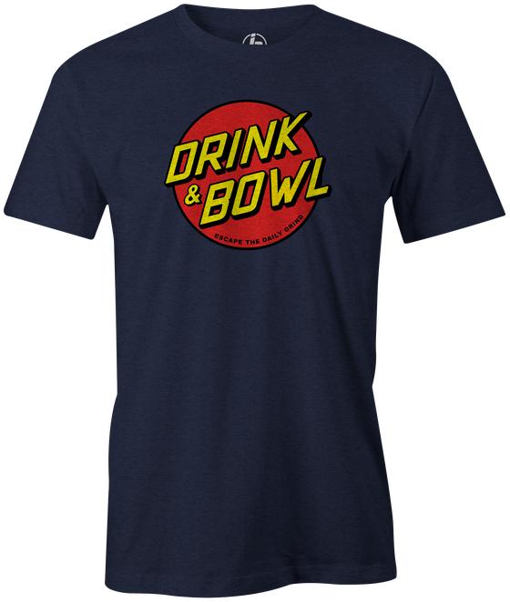 Drink & Bowl Pop Culture Bowling T-Shirt Navy