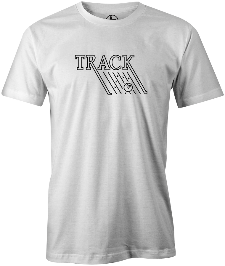 Track Retro Men's T-Shirt, White, track, track bowling, track logo, logo, bowling ball, team ebi, old school, retro, throwback, vintage, tshirt, tee tee shirt, tee-shirt.