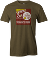 Yellow Dot Men's T-shirt, Army Green, Retro, Bowling, Tshirt, tee, tee-shirt, tee shirt. Bowling ball. Columbia 300.