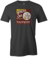Yellow Dot Men's T-shirt, Charcoal, Retro, Bowling, Tshirt, tee, tee-shirt, tee shirt. Bowling ball. Columbia 300.