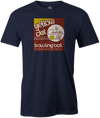 Yellow Dot Men's T-shirt, Navy, Retro, Bowling, Tshirt, tee, tee-shirt, tee shirt. Bowling ball. Columbia 300.