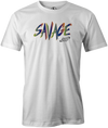 Savage Men's T-Shirt, White, savage life, columbia 300, bowling, bowling ball, tee-shirt, tee shirt, tee, tshirt.