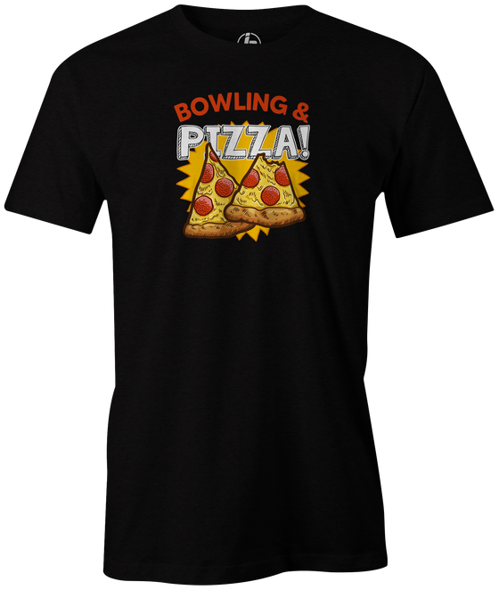Bowling & Pizza Men's Bowling shirt, black, tee, tee-shirt, tee shirt, apparel, merch, cool, funny, vintage, gift, present, cheap, discount, free shipping, lifestlye, food, snack bar, delicious.