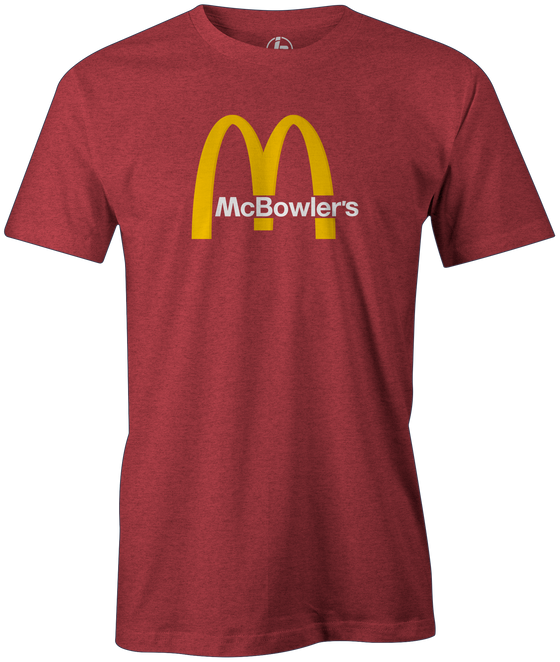 McBowler's men's bowling t-shirt, red, funny, cool, league bowling team shirt, tournament, pop culture, fast food, tee, tee shirt, tee-shirt, t shirt, merch, apparel.