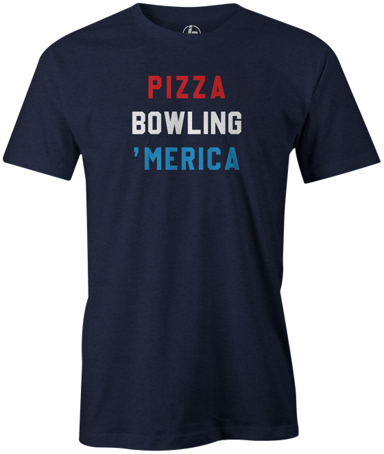 Pizza Bowling 'Merica Men's Bowling shirt, navy, tee, tee-shirt, tee shirt, apparel, merch, cool, funny, vintage, gift, present, cheap, discount, free shipping, lifestlye.