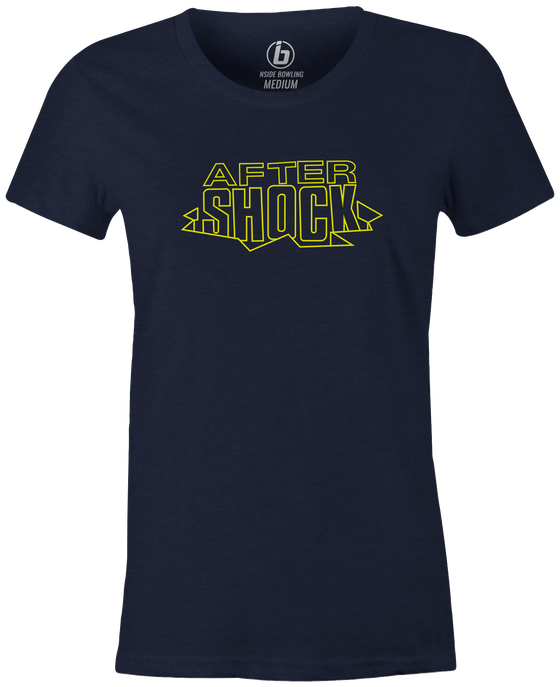 After Shock Women's T-shirt, Navy, Bowling, tee, tee-shirt, tee shirt, tshirt, retro