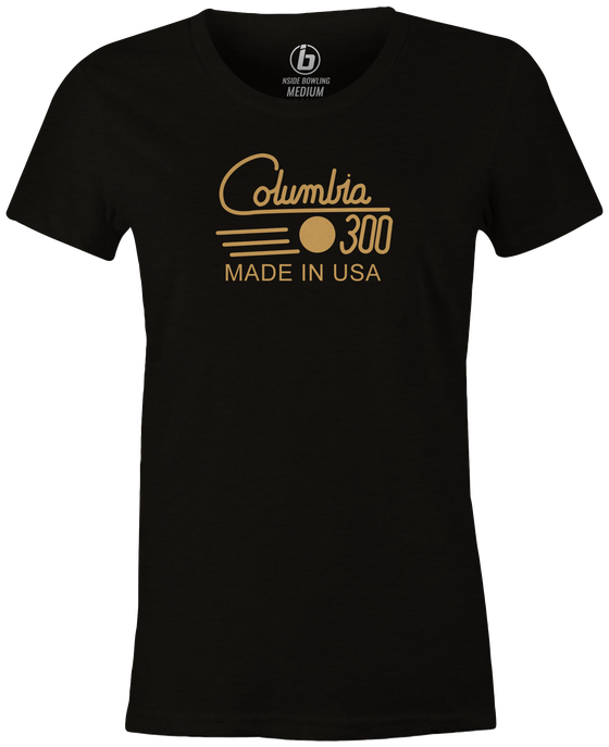 Columbia 300 Retro Women's T-Shirt, Black Vintage, tshirt, tee, tee-shirt, tee shirt, retro, cool, bowling ball