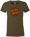 Drink & Bowl Pop Culture Bowling T-Shirt Army Green, Women's, Tshirt, tee, tee-shirt, tee shirt, teeshirt, novelty, cool, funny