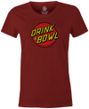 Drink & Bowl Pop Culture Bowling T-Shirt Dark Red, Women's, Tshirt, tee, tee-shirt, tee shirt, teeshirt, novelty, cool, funny