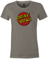 Drink & Bowl Pop Culture Bowling T-Shirt Grey, Women's, Tshirt, tee, tee-shirt, tee shirt, teeshirt, novelty, cool, funny