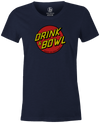 Drink & Bowl Pop Culture Bowling T-Shirt Navy, Women's, Tshirt, tee, tee-shirt, tee shirt, teeshirt, novelty, cool, funny