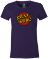 Drink & Bowl Pop Culture Bowling T-Shirt Purple, Women's, Tshirt, tee, tee-shirt, tee shirt, teeshirt, novelty, cool, funny