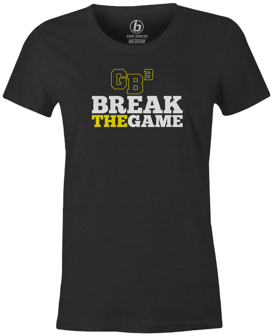 Game Breaker Women's Bowling T-Shirt Ebonite GB3 tee Charcoal