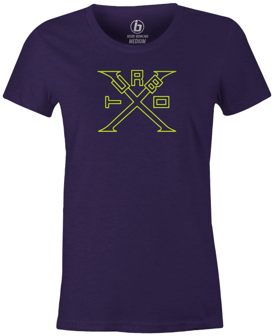 Turbo X Women's T-Shirt, Purple, bowling, bowling ball, ebonite, ebonite bowling, classic, vintage, retro, throwback, original, old school, tee, tee shirt, tee-shirt, tshirt.