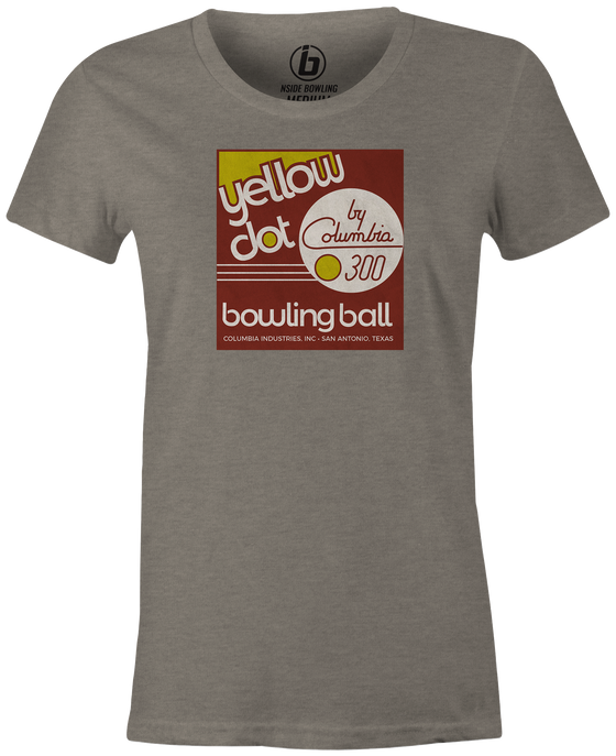 Yellow Dot Women's T-shirt, Grey, Retro, Bowling, Tshirt, tee, tee-shirt, tee shirt. Bowling ball. Columbia 300.