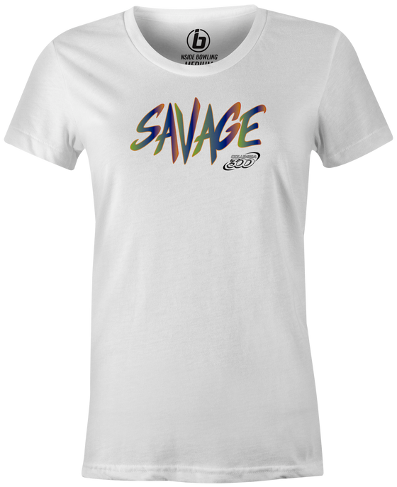 Savage Women's T-Shirt, White, savage life, columbia 300, bowling, bowling ball, tee-shirt, tee shirt, tee, tshirt.