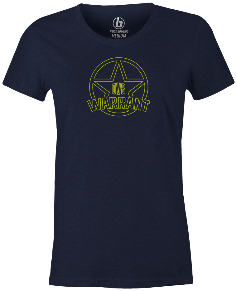 DV8 Warrant Women's T-shirt, Navy, bowling, bowling ball, tee, tee shirt, tee-shirt, t shirt, t-shirt, cool, brunswick, brand, league bowling team shirt, tournament shirt, pwba, usbc, funny.