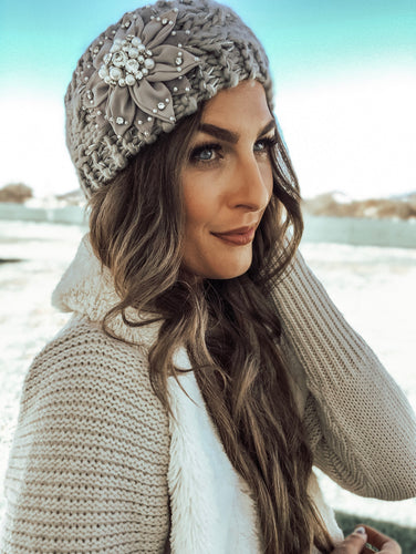 Grey Knitted Flower Headwrap