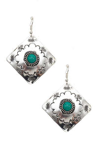 Silver Etched Diamond Earrings With TQ