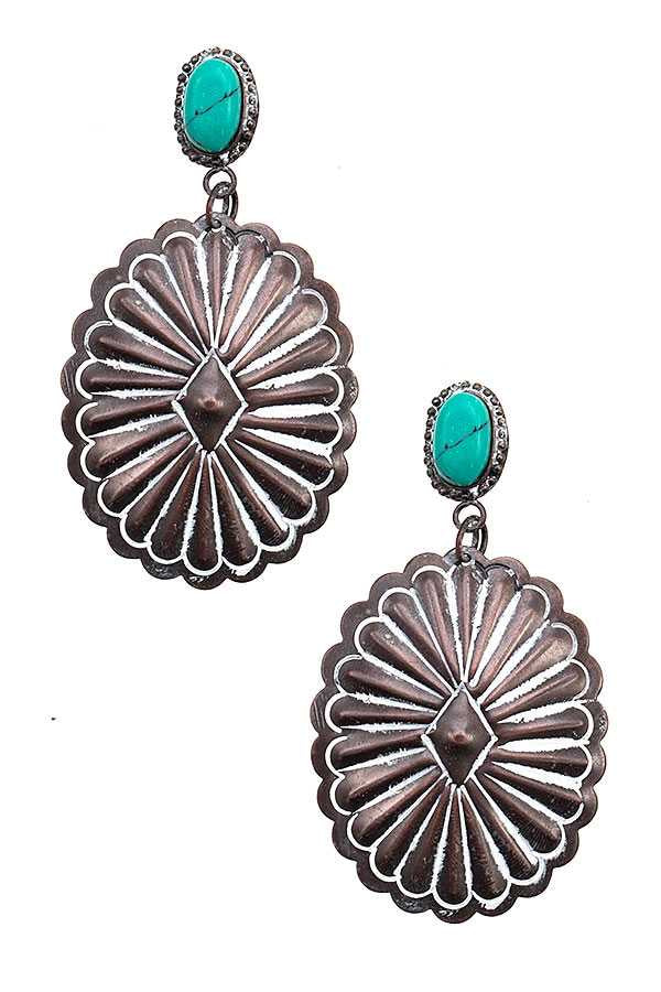 Brass White & Turquoise Concho Stud Earring