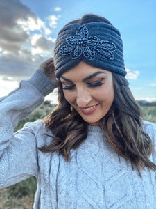 Ribbed Floral Sequin Headwrap Charcoal