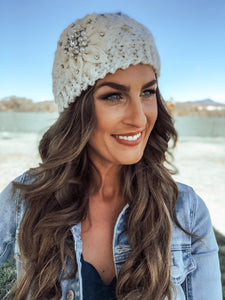 Ivory Knitted Embellished Headband