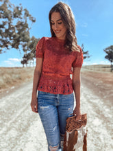 Molly Deep Rose Lace Detail Top