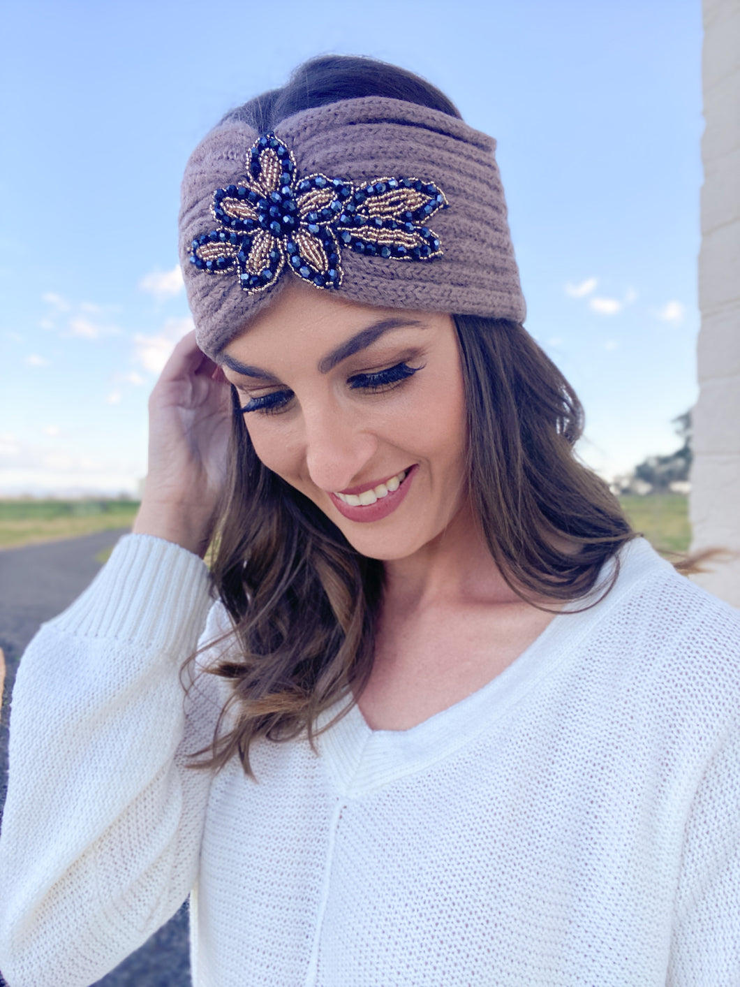 Ribbed Floral Sequin Headwrap Taupe