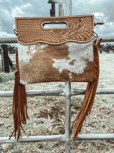 Basket Stamped Leather Tooled Cowhide CrossBody Clutch
