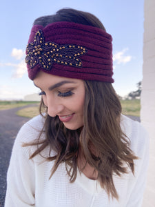 Ribbed Floral Sequin Headwrap Burgundy