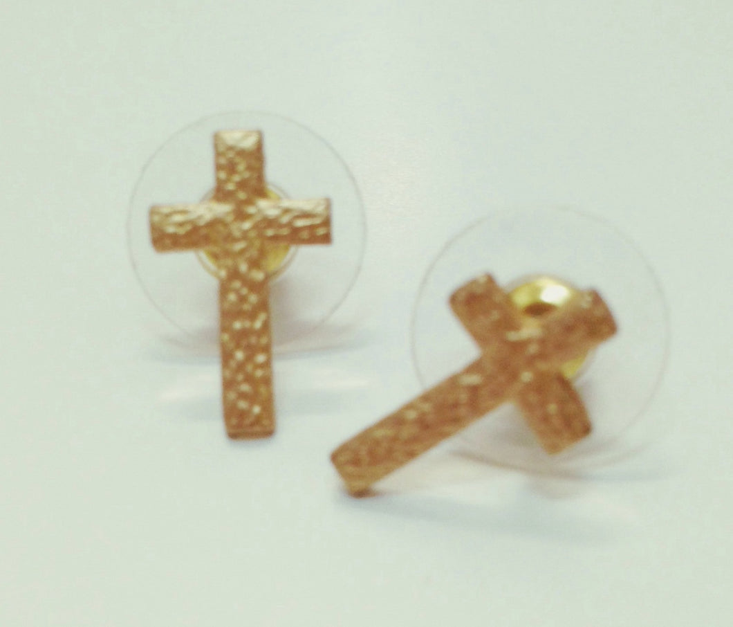 Small Gold Cross Stud Earrings