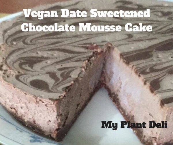 Vegan Date Sweetened Chocolate Mousse Cake