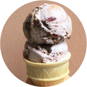 Vegan Cherry Fudge Swirl Ice Cream